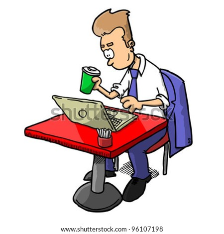 Man with coffee working on laptop (vector)