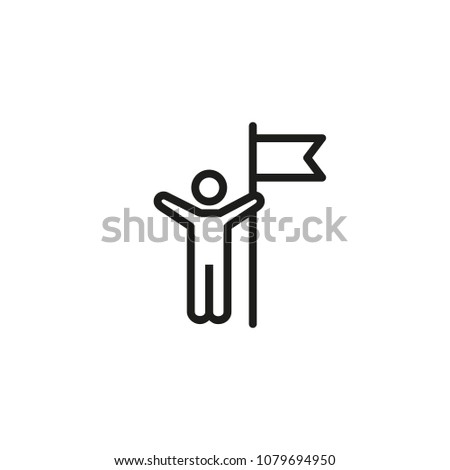 Man with flag line icon. Champion, leader, winner. People concept. Can be used for topics like competition, achievement, success