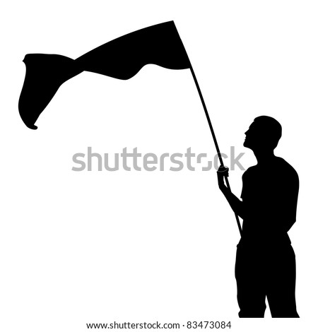 Man with flag silhouette. Vector illustration