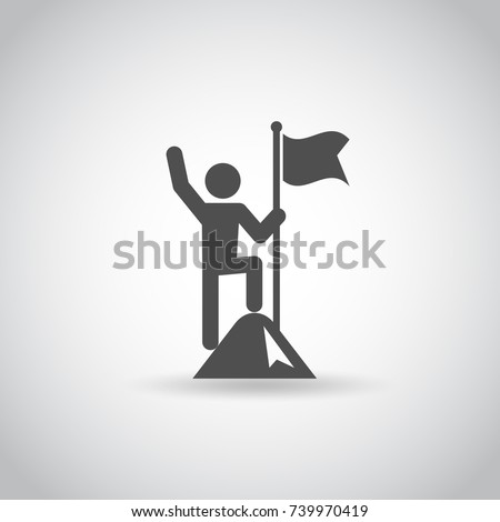 man with flag stendind on the