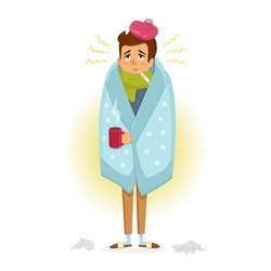Man with Flu sickness