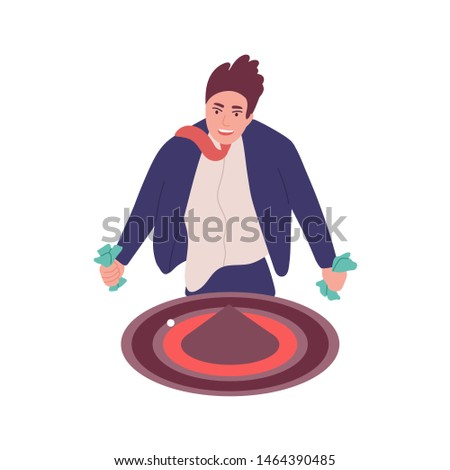 Man with gambling addiction isolated on white background. Gambler, guy addicted to roulette or casino game. Behavioral problem, psychiatric condition. Flat cartoon colorful vector illustration.