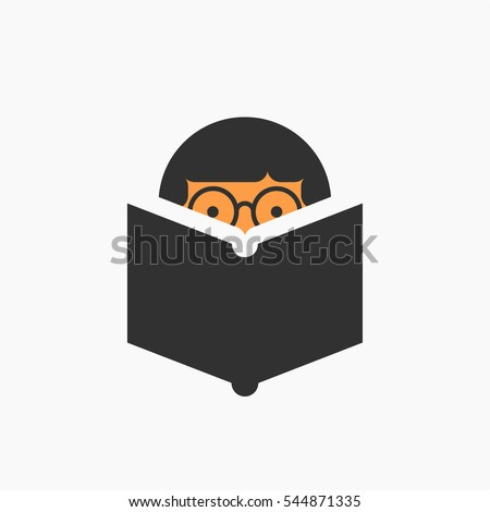 Man with glasses reading a book, vector icon illustration, study, knowledge symbol, bibliophile