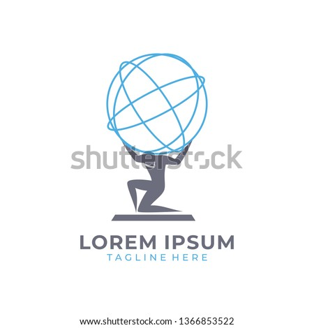 Man with globe logo vector color Foto stock ©