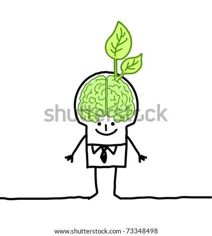 man with green brain & leaf