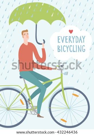 man with green umbrella riding