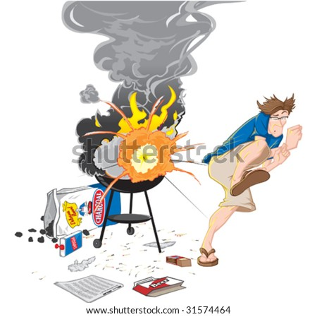 Man with grill on fire illustration. - stock vector