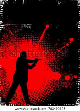 man with gun on grunge