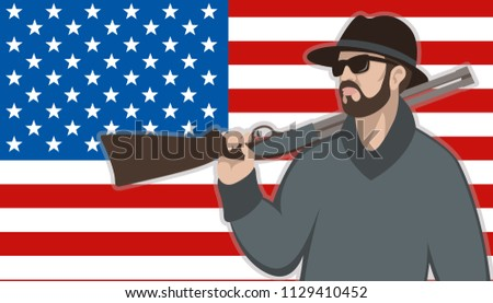 man with gun  on the background