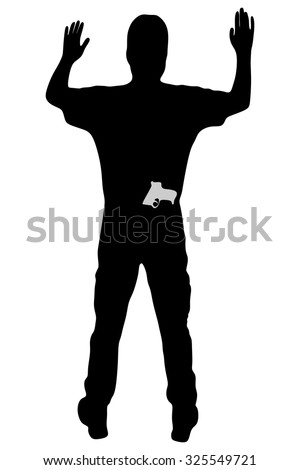 man with gun surrendering with