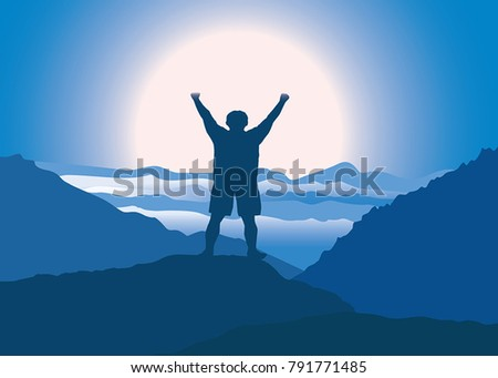 man with hands up jumping and