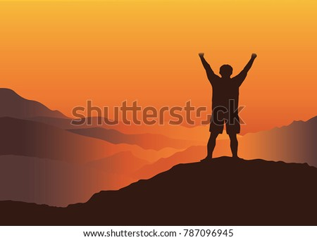 man with hands up on the top of
