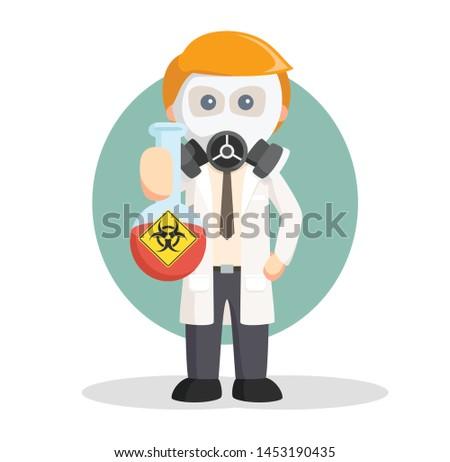 Man with Hazardous beaker, job info vector illustration