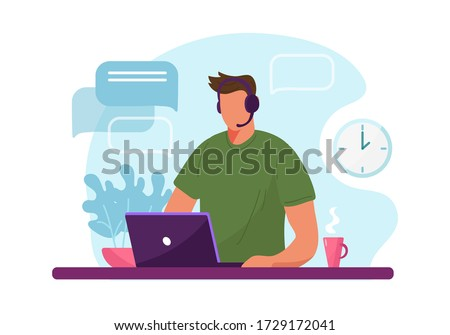 Man with headphone and computer, call center, customer service and support. Flat vector illustration concept of distance work, distance education Stock foto ©