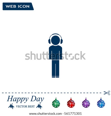 man with headphones vector icon