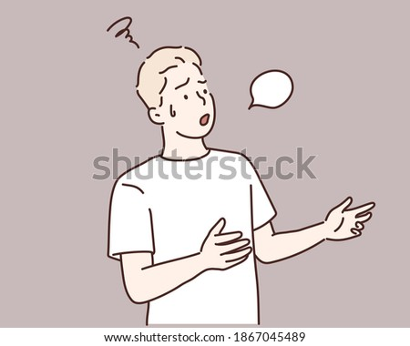 man with incredulous look is talking about a problem using gestures. Hand drawn style vector design illustrations.