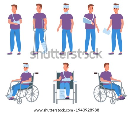 Man with injury. Guy with bandage and plaster, injuries and wounds, arms and legs fractures, medical treatment and fixation of broken bones. Male character on wheelchair vector cartoon set Foto stock ©