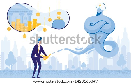Man with Lamp Alladin and Gin. Big Money Dream. From Poverty to Wealth. Achive Goal. Vector Illustration. Way to Victory. Earn Money. Financial Stability. Business Plan. Cash Savings. Save Money.