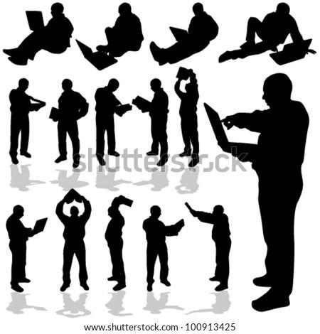 man with laptop black silhouette art vector illustration