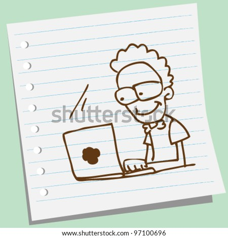 man with laptop doodle illustration