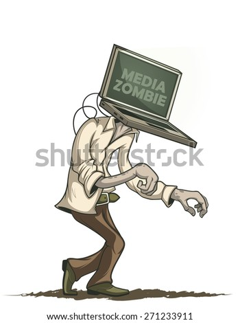 man with laptop media zombies