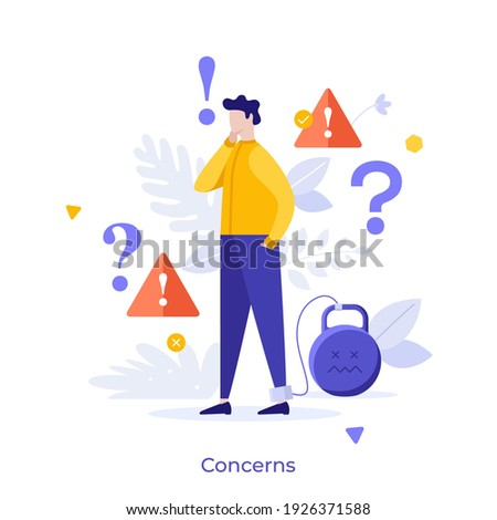 Man with legcuffs tied to kettlebell, exclamation marks and interrogation points. Concept of concern, anxiety, worry, warning, disturbance, problem solving. Modern flat colorful vector illustration.