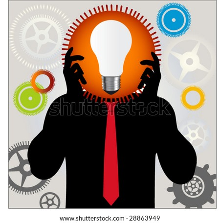 man with lightbulb and gears