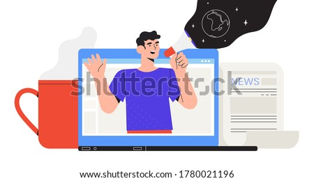 Man with loud speaker share latest or hot news online on laptop screen. use Breake for news during working day. Flat design vector graphic style illustration  for banner, sites, apps.