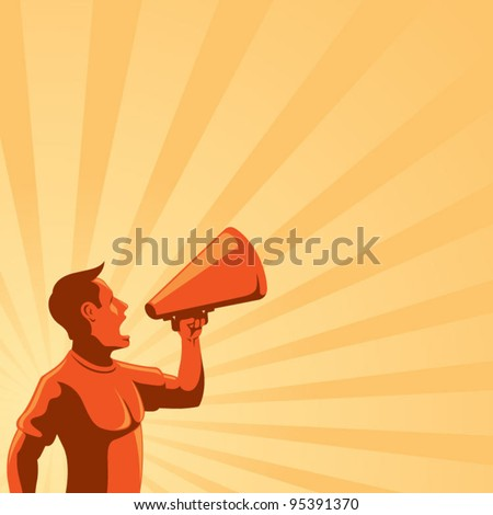 Man with Loudspeaker - stock vector