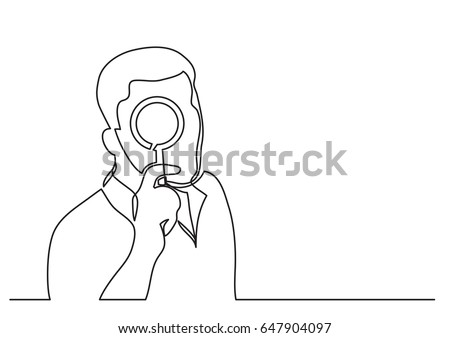man with magnifying glass - single line drawing