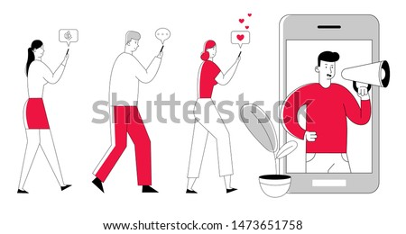 Man with Megaphone on Screen and Young People with Mobile Phones nearby. Influencer Marketing Social Media or Network Promotion, Smm. Internet Advertisement Cartoon Flat Vector Illustration, Line Art