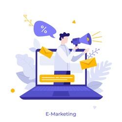 Man with megaphone or bullhorn on screen of laptop computer. Concept of e-marketing, internet promo, digital promotion, online advertisement. Modern flat cartoon vector illustration for banner.