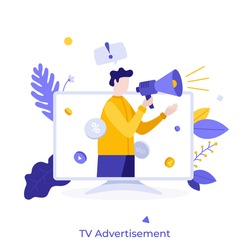Man with megaphone or bullhorn promoting or advertising product on television screen. Concept of TV commercial, advertisement campaign, promotion, marketing. Modern flat colorful vector illustration.