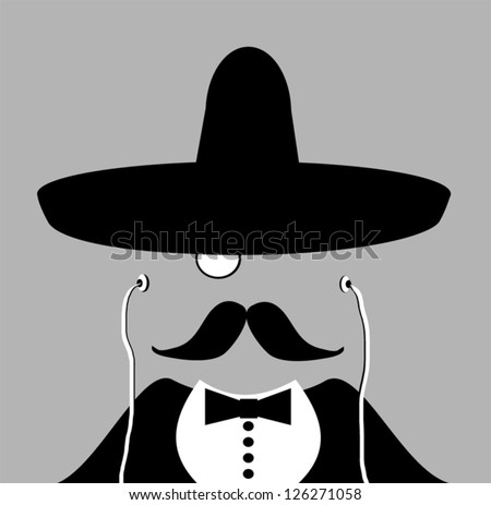 man with monocle and Mexican hat