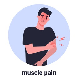 Man with muscle pain. Sport trauma and sickness. 2019-nCoV symptom. Virus prevention and protection. Coronovirus alert. Isolated flat illustration