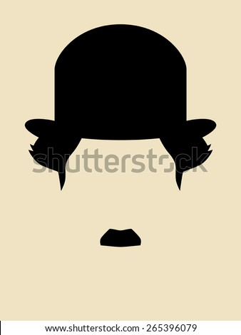 Man with mustache wearing a vintage hat symbol