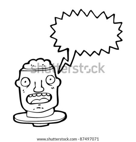 man with open brain cartoon