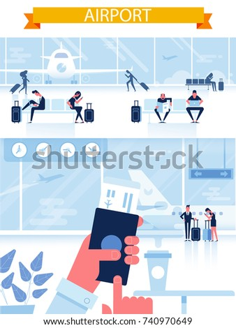 Man with passport and boarding pass waiting flight inside of airport. Airport horizontal Banner - waiting room with people.Infographics elements. Travel Concept. Flat Vector Illustration.