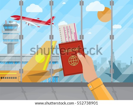 Man with passport and boarding pass waiting flight inside of airport with a plane, control tower, cityscape in background. Travel, vacation, Business trip concept. Vector illustration in flat design