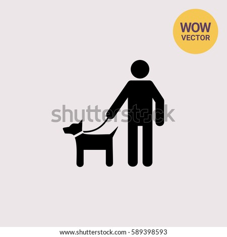 Man with Pet on Lead Icon