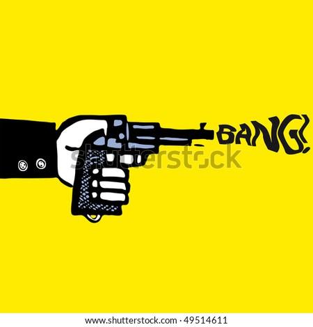 man with pistol vector illustration cartoon sketch silhouette