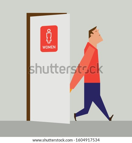 Man with poor eyesight who needs glasses walking out of female bathroom