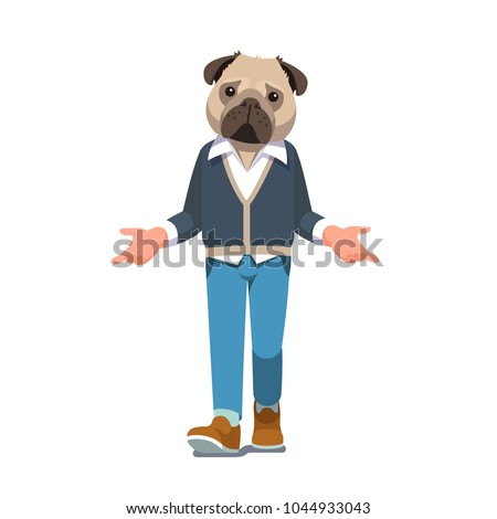 man with pug dog head walking