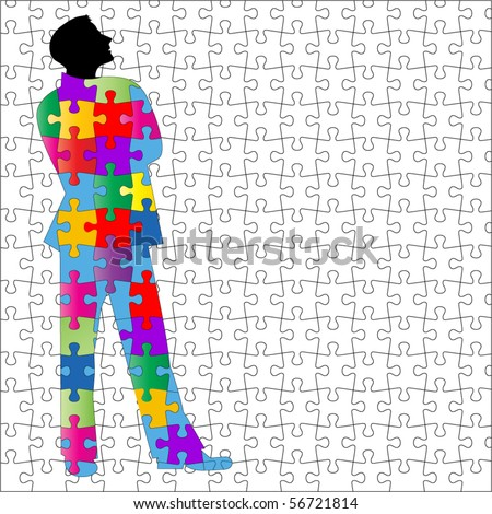 man with puzzle background and suit - all separate pieces
