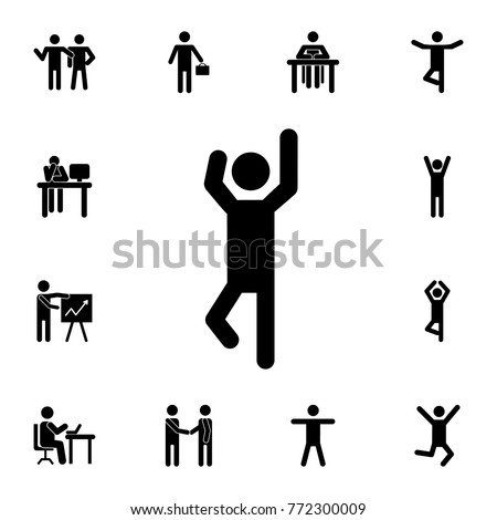 man with raised arms icon. Set of Silhouettes of people in different activities icons. Premium quality graphic design collection icons for websites, web design, mobile app on white background