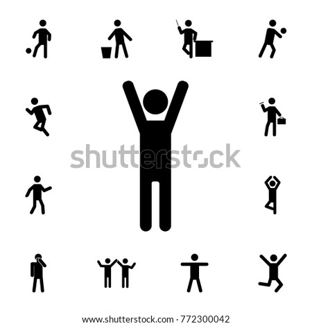 man with raised arms icon. Set of Silhouettes of people in different activities icons. Premium quality graphic design collection icons for websites, web design on white background