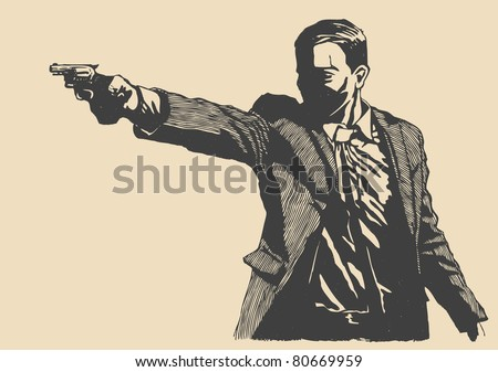 man with revolver pistol