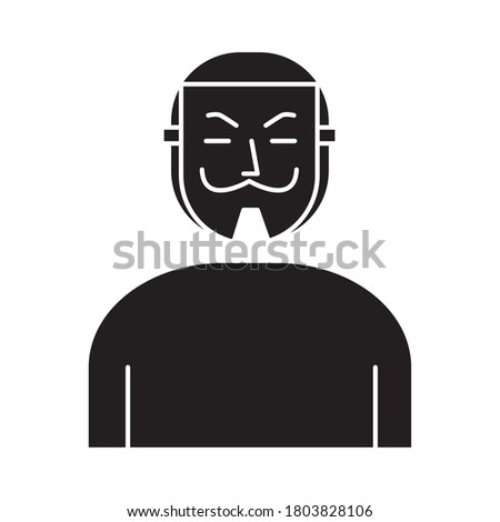 man with salvador dali mask