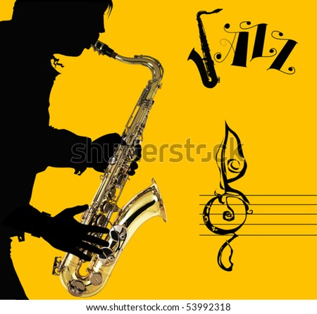 Man with saxophone on a yellow background; adult; - stock vector