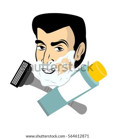 man with shaving foam razor